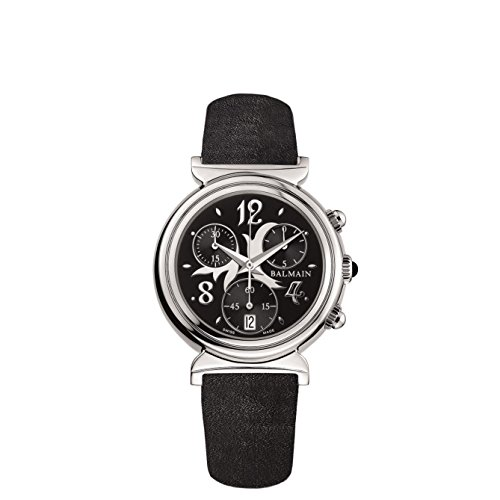 Balmain Chronograph B de B Armband Leder Schwarz Gehaeuse Edelstahl Batterie B58713062