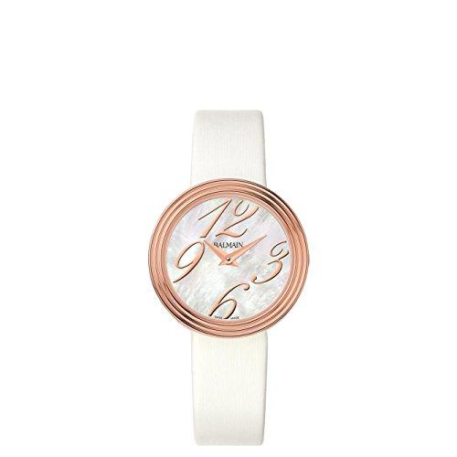 Balmain Elegance Armband Leder Gehaeuse Gold beschichtetes Edelstahl Batterie B13792284
