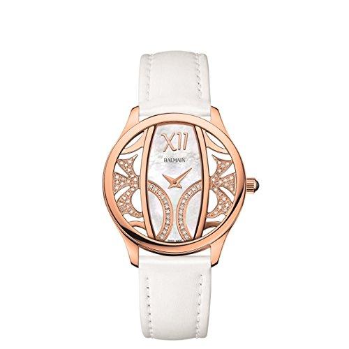 Balmain Elegance Armband Leder Gehaeuse Gold beschichtetes Edelstahl Batterie B14732282