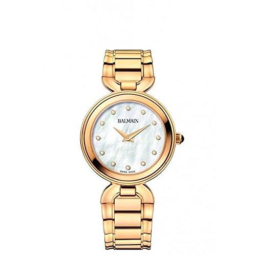Balmain Madrigal Damen Armbanduhr 32mm Armband Gold beschichtetes Edelstahl Gehaeuse Batterie B4890 33 86