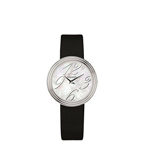 Balmain Elegance Armband Leder Schwarz Gehaeuse Edelstahl Saphirglas Batterie B13713284