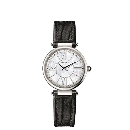 Balmain Elegance Damen Armbanduhr Armband Leder Schwarz Gehaeuse Edelstahl Saphirglas Batterie B16513282