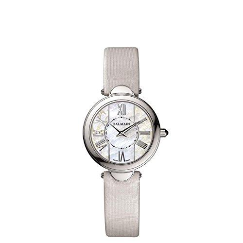Balmain Haute Elegance Ultra Flat 34mm Armband Leder Weiss Saphirglas Batterie B8071 22 83