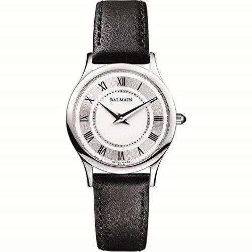Balmain Damen 29mm Schwarz Leder Armband Edelstahl Gehaeuse Uhr PB32729913226