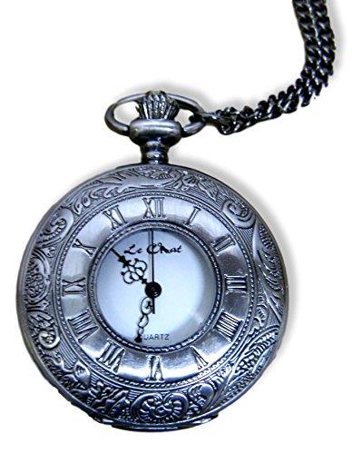 Antik Silber Ton Unisex Half Hunter Taschenuhr auf 71 1 cm Kette New Box