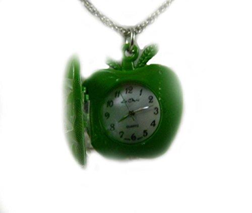 Suesse gruene Apple OEffnung Echt Arbeiten Armbanduhr Anhaenger Silber Ton 80 cm Seil Kette New Box Echt Perlmutt Zifferblatt