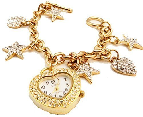 Damen Charm Armband echt Kristall Set Gold ton Herzen Sterne Armbanduhr