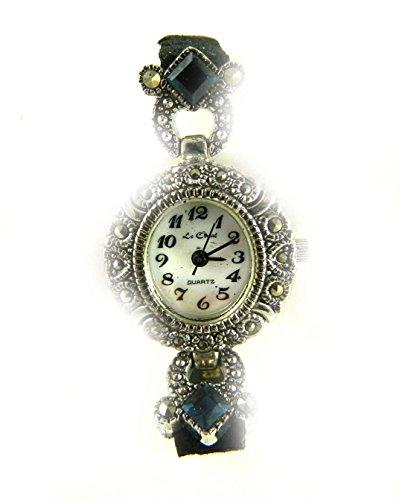 Armbanduhr antik silberfarbene echter Markasit und Amethyst Kristall Armband aus kuenstlichem Wildleder schwarz