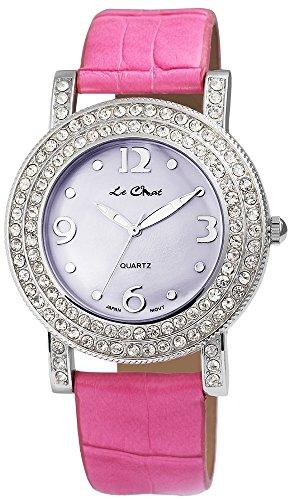 Armbanduhr Lederimitat pink Mineralglas Crystal Besatz Quarzwerk
