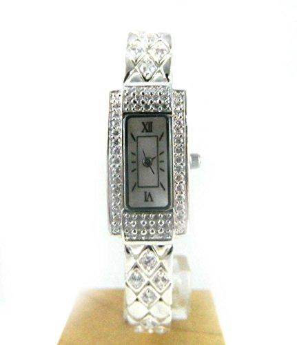 Atemberaubende gekennzeichnet Silber Zirkonia und Echte Mutter der Perle Diamant Muster Armband Armbanduhr New Box