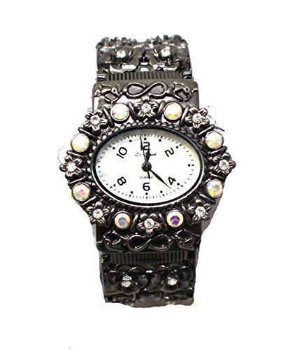 Ausgefallene Antik Silber und Kristall Armreif oval Manschette Armbanduhr New Box