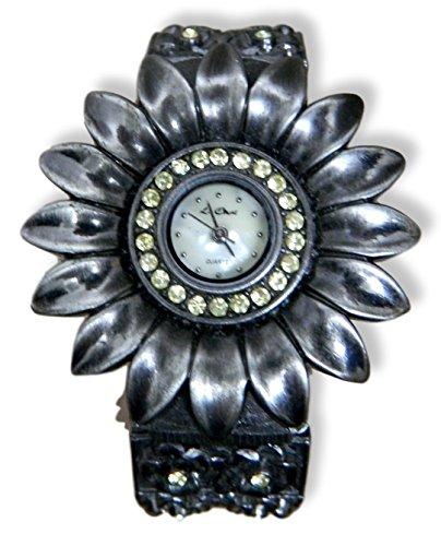 Ausgefallene Antik Gold Ton Light Topaz Kristall Manschette Armband Armbanduhr