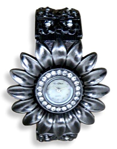 Ausgefallene Antik Silber Ton Kristall Manschette Armband Armbanduhr NEU verpackt