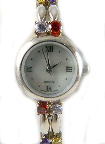 Aussergewoehnliche gekennzeichnet Silber und Regenbogenfarben Zirkonia Steinen Damen Armband Uhr echt Perlmutt Zifferblatt
