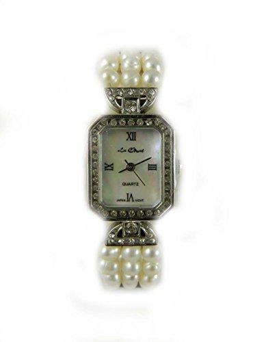 Braut Brautschmuck echtem Fluss Perle und Kristall Silber Ton Armband Uhr echt Perlmutt Zifferblatt New Box