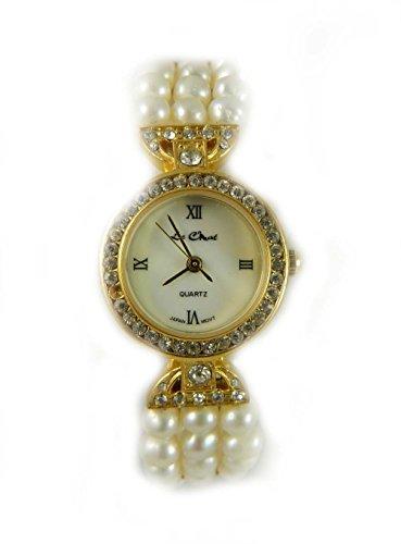 Braut Brautschmuck Pretty Kristall Set River Pearl 3 Reihe Armband Armbanduhr fuer echte Perlmutt Zifferblatt