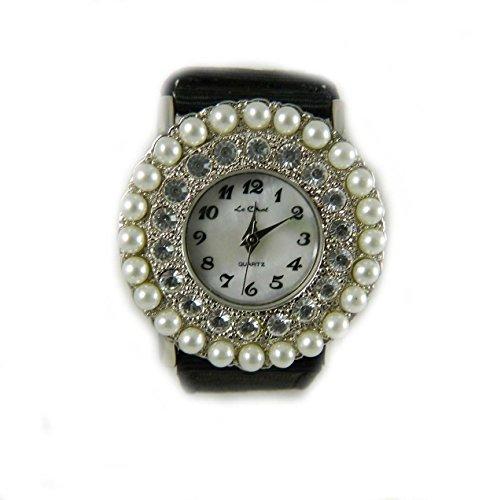 Bride Bridesmaid Wedding Pearl und Kristall Silber Ton Damen Armbanduhr echtem Perlmutt Zifferblatt schwarz grograin Look Gurt