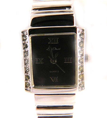 Le Chat Classic Style Silber Ton Crystal Set schwarz Zifferblatt Armband Armbanduhr