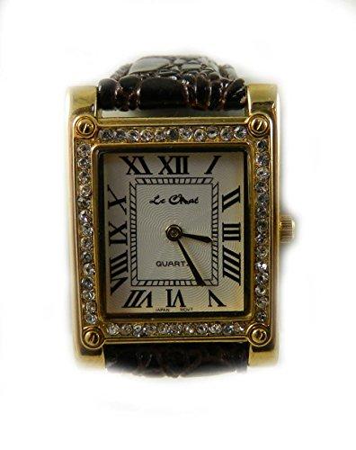Le Chat Classic Gold Ton und Kristall Tan Lederband Armbanduhr