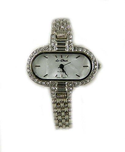 Le Chat Deco Look Kristall klar Set oval Rhodium Ton Damen Armband Armbanduhr