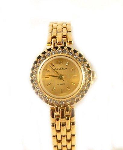 Pretty Le Chat Gold Ton und Kristall verstellbar Armband Armbanduhr NEU verpackt