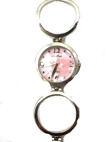 Le Chat Quarz Modern rosa Zifferblatt Silber Ton Kreis Armband Armbanduhr NEU