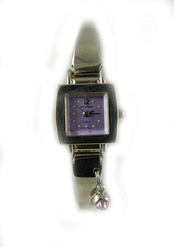 Le Chat quadratisch Fall Silber Ton Armreif Uhr Light Purple Zifferblatt