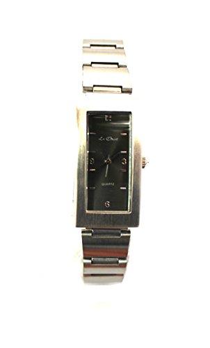 Le Chat Quarz Silber Ton Armbanduhr Damen Black Watch Face