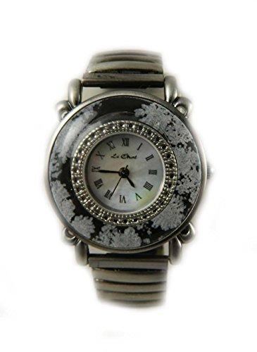 Le Chat grau schwarz Blumen Zirkular Damen Armbanduhr echtem