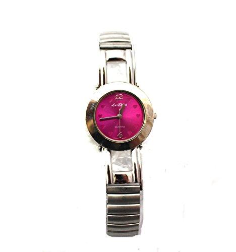 Le Chat Quarz Silber Ton Armbanduhr Damen Vibrant Fuchsia Pink Armbanduhr Face