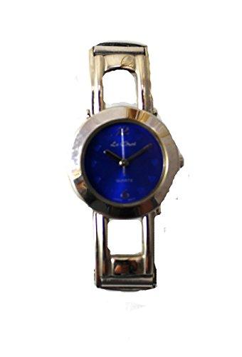 Le Chat silberfarben glaenzend rund Fall Navy Blue Dial Expander Armbanduhr BNIB