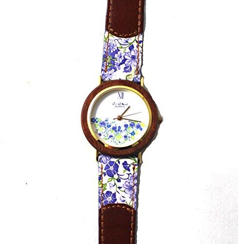 Le Chat Quarz Summertime Braun Weiss Violett gebluemt Armbanduhr