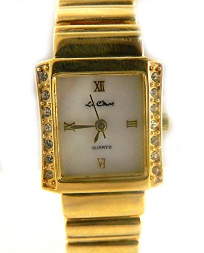 Classic Look Le Chat Gold Ton Crystal Set Echt Perlmutt Zifferblatt Armband Armbanduhr
