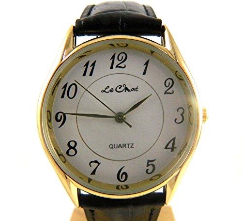 Classic Gents Le Chat Gold Ton leicht zu lesen weiss Zifferblatt schwarz Armbanduhr NEU