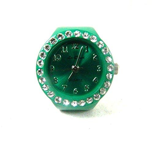 Auf Trend gruen und Real crystal set Arbeiten Ring Armbanduhr Expander NEU verpackt