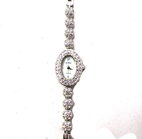 Silber Ton Klar Crystal Set Fall und Armband Echte Mutter von Pearl Zifferblatt Armbanduhr by Le Chat New Box