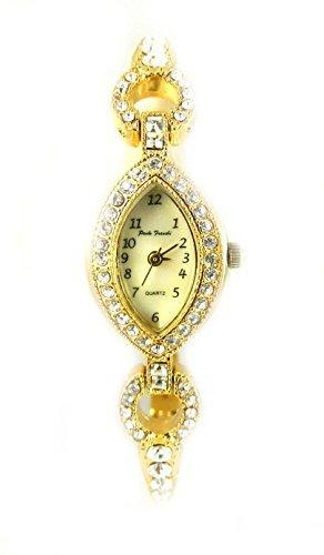 Damen Schoene Oval Crystal Set Cocktail Abend Stil Armband Armbanduhr