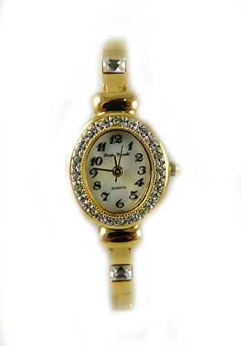 Zarte Damen Gold Ton Crystal Set Case Real Mother of Pearl Zifferblatt Slim Armband Armbanduhr