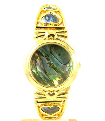 Damen Gold Ton Abalone Zifferblatt Expander Herzen NEU in BOX