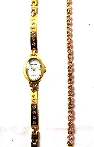 Damen Gold Ton Pink Crystal Set und passenden Rosa Crystal Line Armband Set New von Le Chat