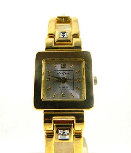 Damen Gold Ton Quadratische Fall Stein Set Armband Uhr