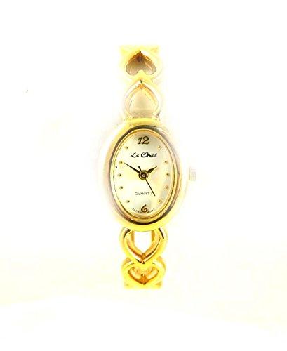 Damen Gold Ton Herzen Valentine Armreif Armbanduhr New Box