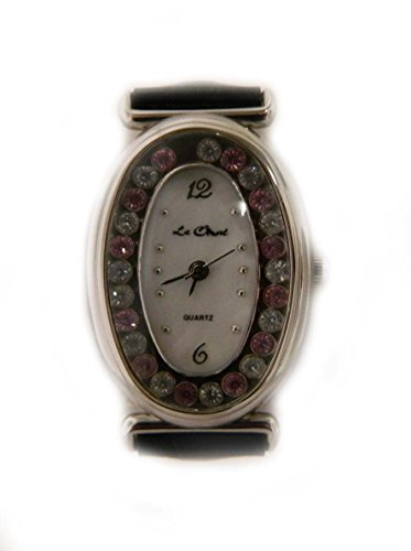 Damen Oval Rosa Kristall klar Schwarz strapwatch