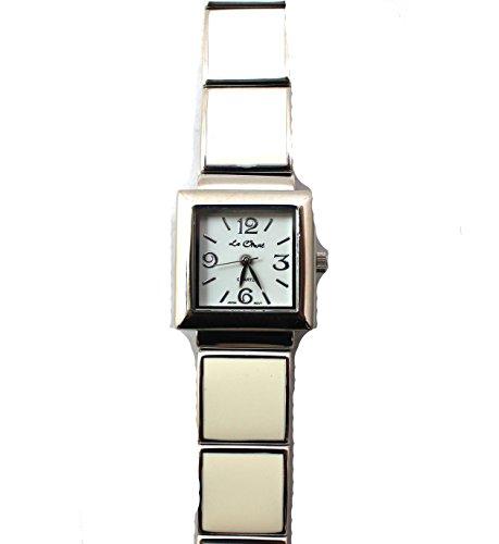 Damen Creme und Silber Ton Quadratisch Silber Ton Armband Armbanduhr NEU