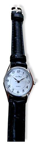 Damen Silber Ton Uhr Schwarz Kunstleder Riemen