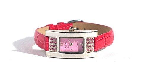Damen silberfarben Fuchsia Crystal rechteckig case Strap Watch