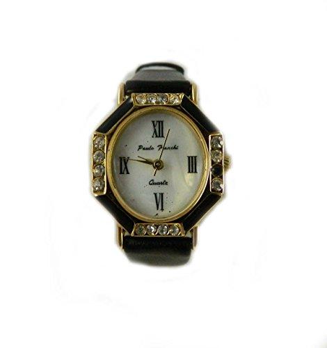 Designer Look Emaille schwarz und Kristall Schwarz Echtes Leder Armbanduhr Faux Mother of Pearl Zifferblatt Passende Ohrringe erhaeltlich