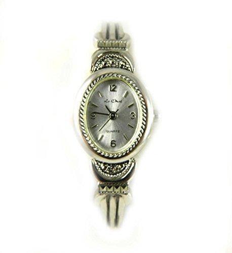echtem Markasit und Silber Ton Oval Fall Damen Expander Armband Armbanduhr