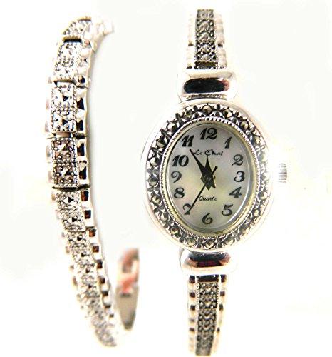 echtem Markasit Vintage Look Mutter von Pearl Zifferblatt und Faux Markasit Armband Set