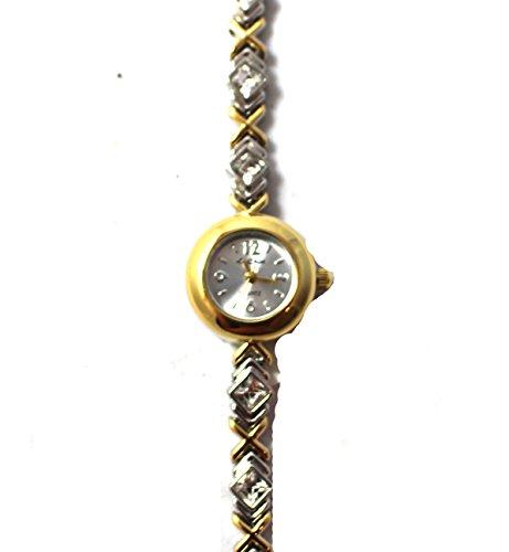 Elegante Armbanduhr 2 Ton Quadratisch Crystal Set Kisses Armband Quarz Neue Box